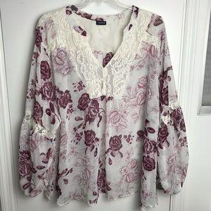 Torrid Sheer blouse. Plus size.
